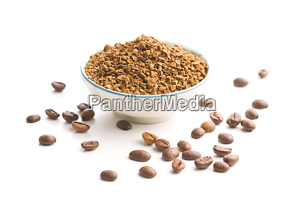 the instant coffee and coffee beans