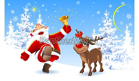 joyful santa and reindeer