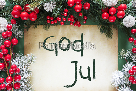 christmas decoration swedish text god jul