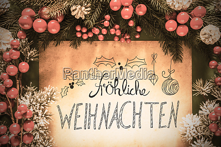retro christmas decoration calligraphy frohe weihnachten