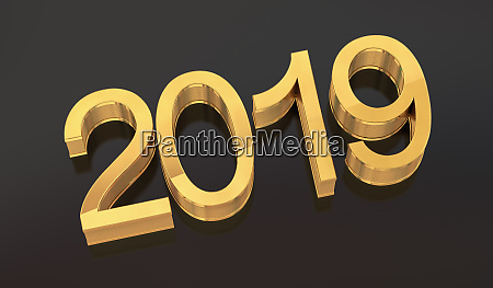3d golden 2019 on black