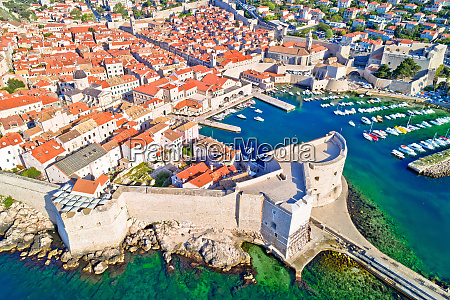 dubrovnik historic town and harbor aerial