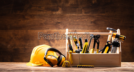safety equipment near toolbox with various