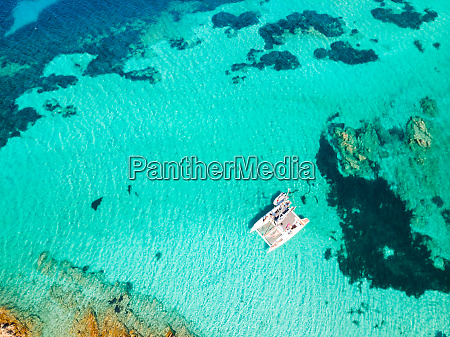 drone aerial view of catamaran sailing