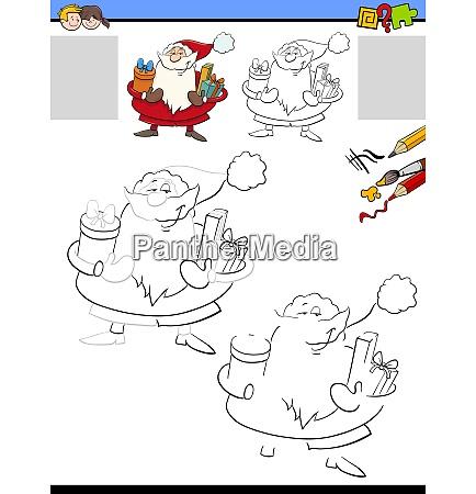 drawing and coloring worksheet with santa