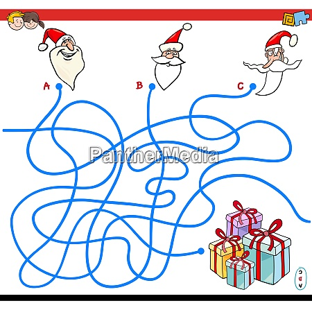 lines maze game with christmas santa