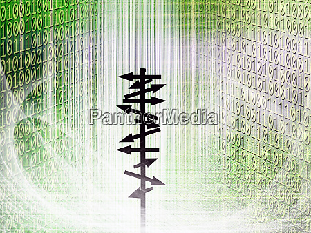 conceptual silhouetted directional signs pole in