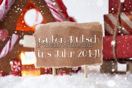 gingerbread house sled snowflakes guten rutsch