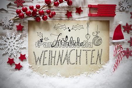 rustic decoration snow calligraphy froehliche weihnachten