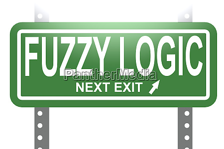 fuzzy logic word with green sign