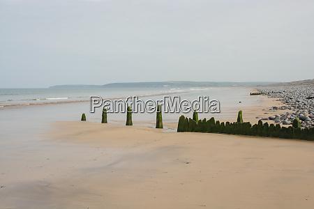 beach at westward ho devon england