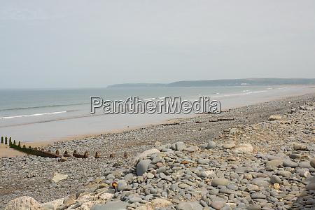 shingle beach at westward ho devon