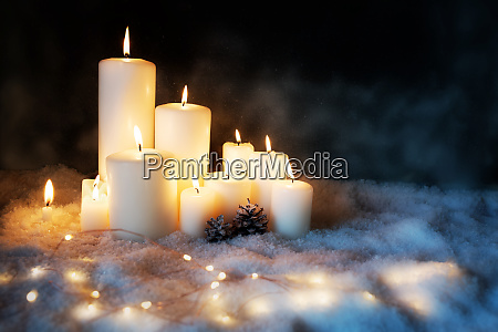 candle lights in a cold winter