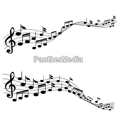 music notes with g clef on