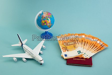 summer vacation concept with euro banknotes