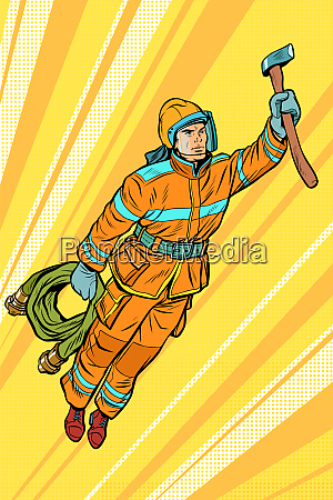 fireman firefighter flying superhero help