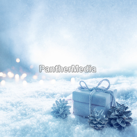 surprise gift in blue cold snowy