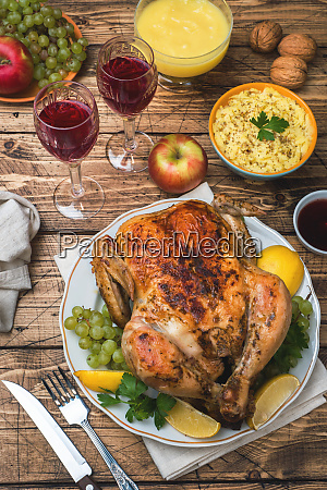 baked chicken mashed potatoes and wine
