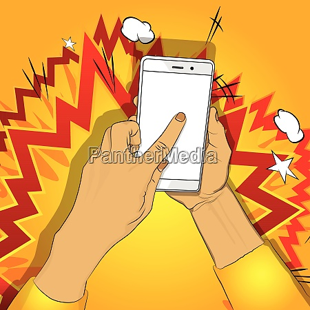 hand holds smart phone with white
