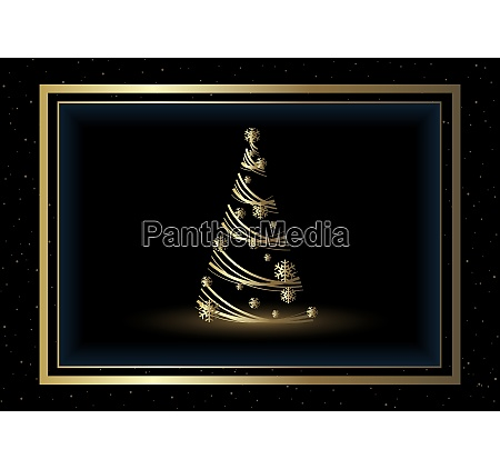 background with golden xmas tree