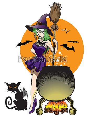 witch cauldron and cat bat two