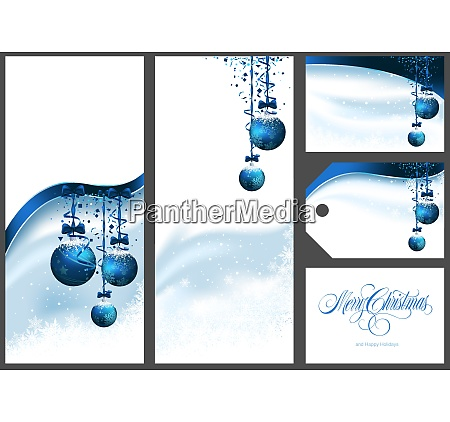 blue christmas greetings set