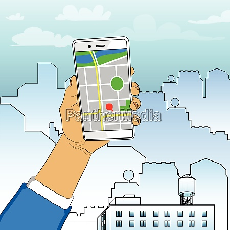 hand holding white cellphone with map