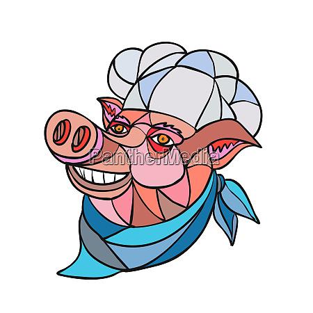 pig pork baker mosaic color
