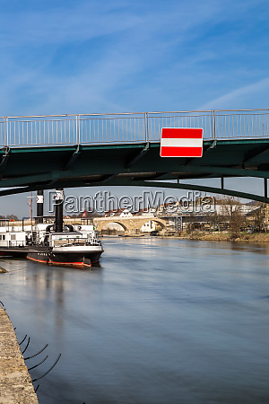 iron bridge in regensburg bavaria germany