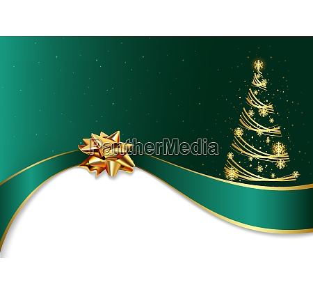 green christmas background with golden bow