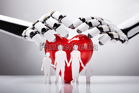 robot protecting family figures with red