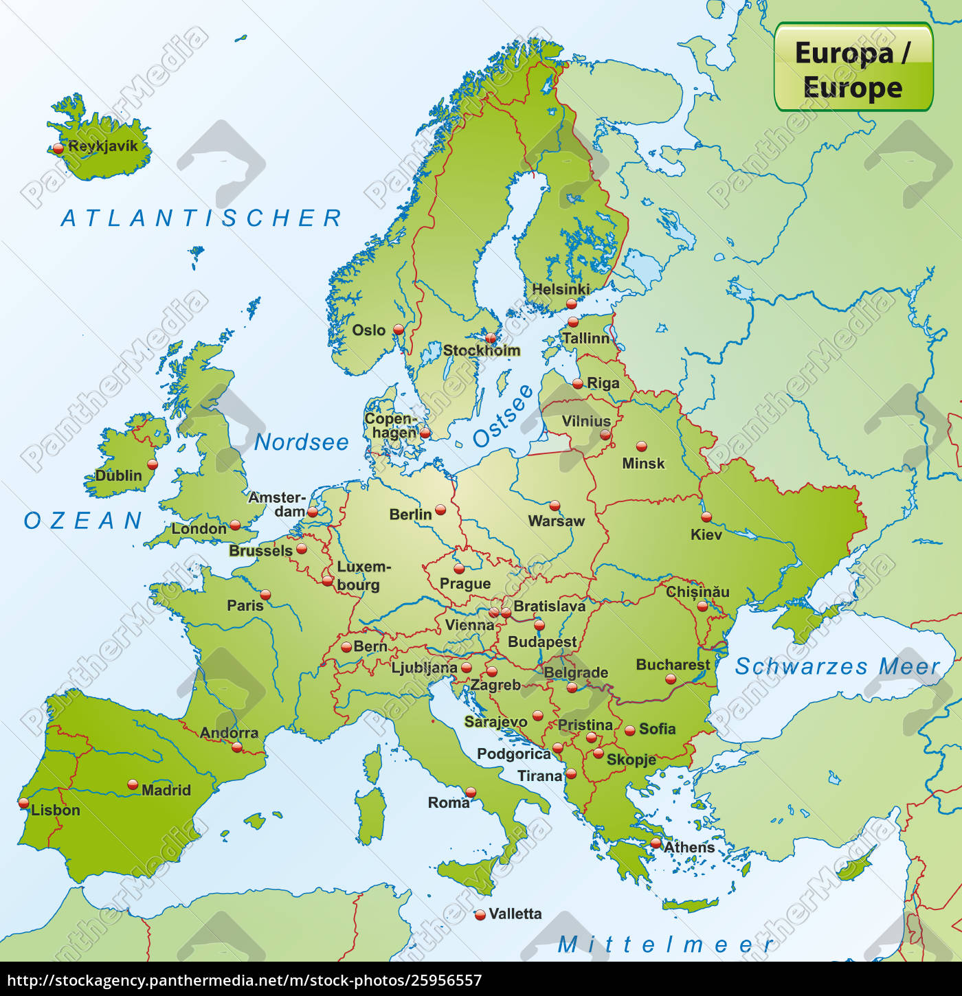 Picture of: Map Of Europe With Capital Cities Stock Photo 25956557 Panthermedia Stock Agency