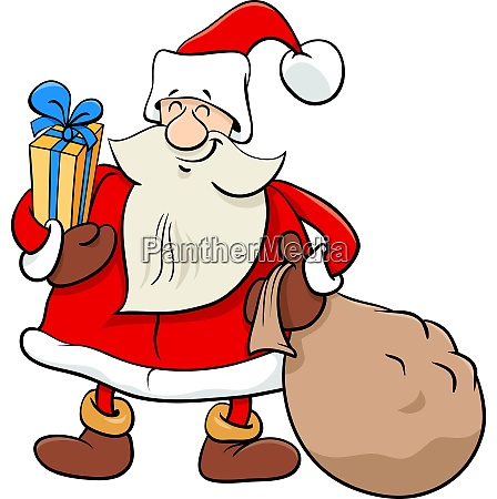 santa claus christmas character with presents