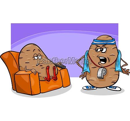 couch potato saying cartoon illustration