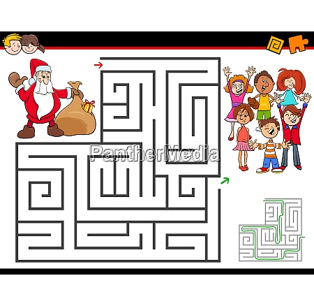 cartoon maze activity with santa claus