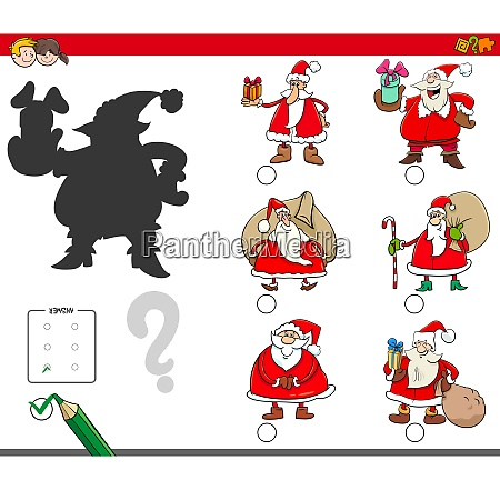 shadows game with cartoon santa claus