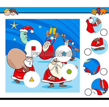 match pieces puzzle game with santa