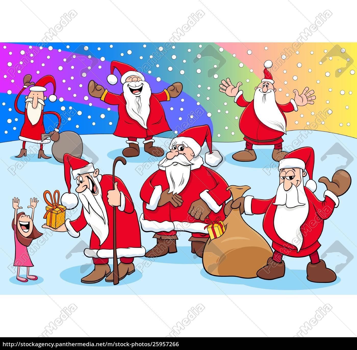 Royalty free vector 25957266 , Christmas Santa Claus cartoon characters  group