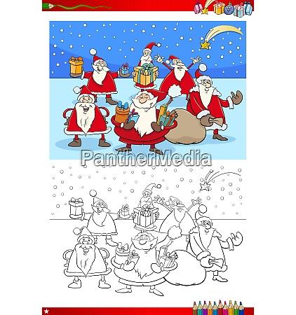 christmas santa group coloring book
