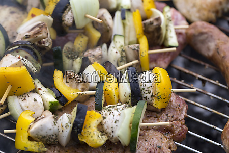 barbecue with delicious grilled meat and