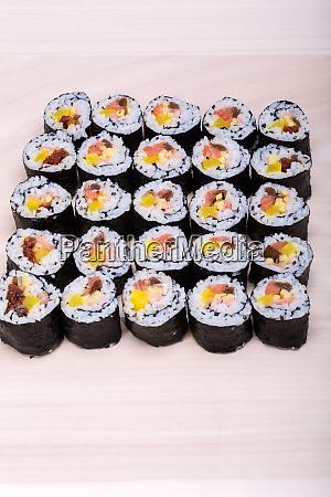sushi fresh maki rolls isolated