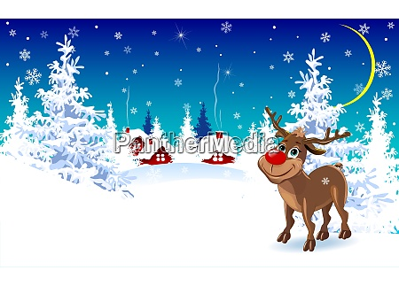 reindeer on a winter background greeting