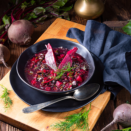 delicious red pray soup after russian