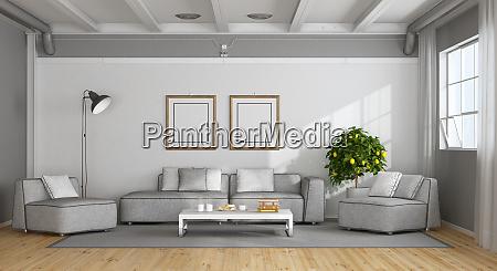 white and gray modern living room