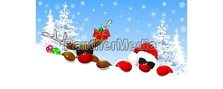 cute, santa, and, deer, with, glasses - 25967498