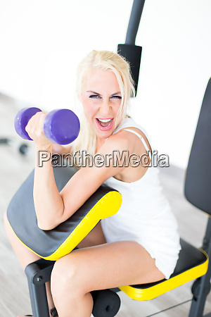 fitness with young blond woman