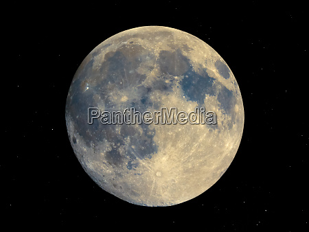 full moon seen with telescope starry
