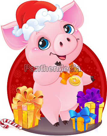 cute little piglet with christmas gifts