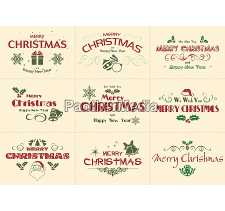 set of merry christmas label