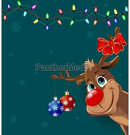 cute deer with christmas decorations